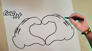 COMO DIBUJAR UN CORAZON (MICKEY MOUSE) / HOW TO DRAW A HEART (MICKEY MOUSE)
