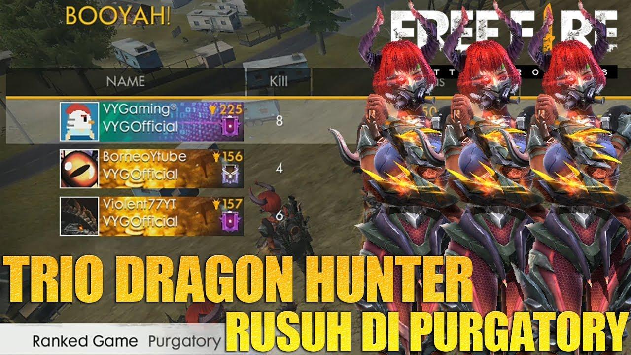 AKSI TRIO BARBAR RUSUHIN WARGA PURGATORY PAKE BUNDLE DRAGON HUNTER - FREE FIRE INDONESIA