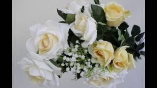 Arranjo Artificial ou Permanente de Rosas Brancas e Amarelas