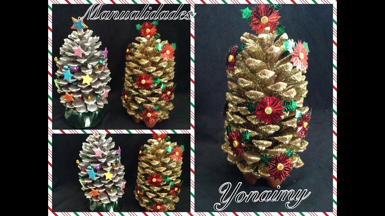 Arbolito de navidad hecho con una pi ita manualidad para - Adornos para navidad con pinas ...