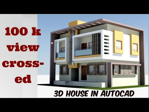 3d Modern House in autocad