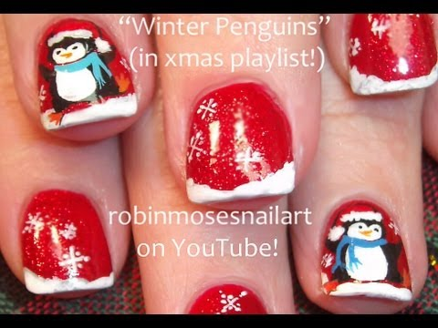 christmas penguin nails cute
