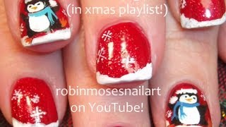 3 Nail Art Tutorials | Diy Easy Christmas Nails | Penguin Nail Art Design