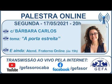 Assista: Palestra online - c/ BÁRBARA CARLOS (17/05/2021)