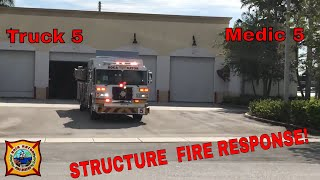 Structure Fire Response! Truck 5 And Medic 5 - Boca Raton Fire Rescue