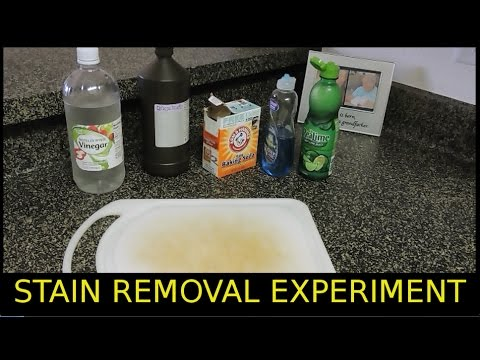 Cutting Board Stain Removal Test-Baking Soda Lime Juice Vinegar  Hydrogen Peroxide