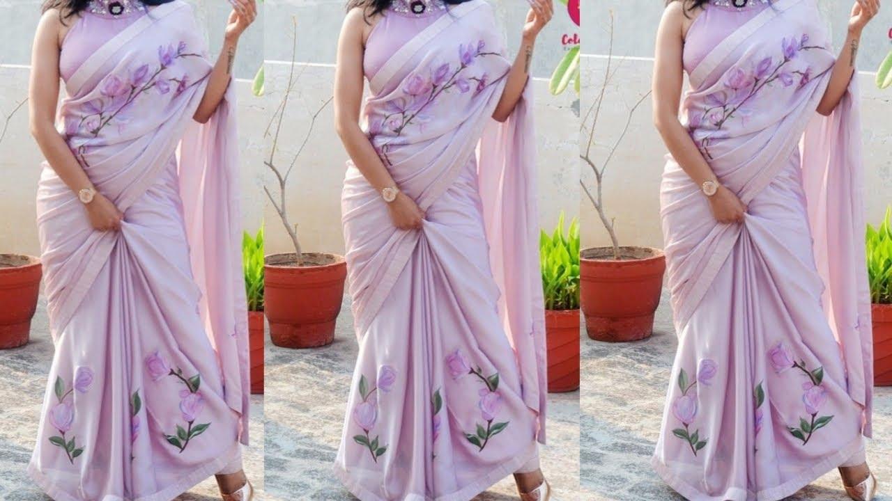 Hand Painted Saree/Sari design ideas // Floral Print Satee Design for girls