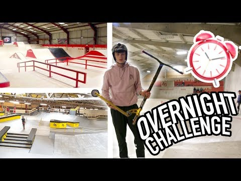 I stayed the night in the BEST SKATEPARK EVER and it was AWESOME! *24 HOUR OVERNIGHT CHALLENGE*
