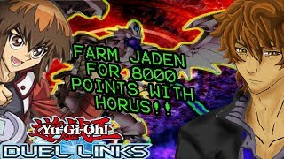 FARM JADEN LVL40 FOR 8000 POINTS WITH HORUS!! &HOW TO UNLOCK NEW CHARACTERS | YuGiOh Duel Links