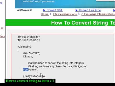 How To Convert String To Int In C