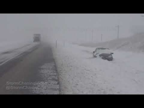 Wilson, KS Interstate 70 Whiteout Snow Travel Nightmare - 1/12/2019