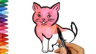 Kedi Çizim Nasıl Yapılır? | Çocuk ve Bebek için Çizim ve Boyama