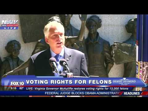 FNN: Virginia Governor Reinstates Voting Rights to 13,000 Felons