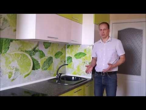 Яркий и сочный кухонный гарнитур, для узкой и длинной кухни.