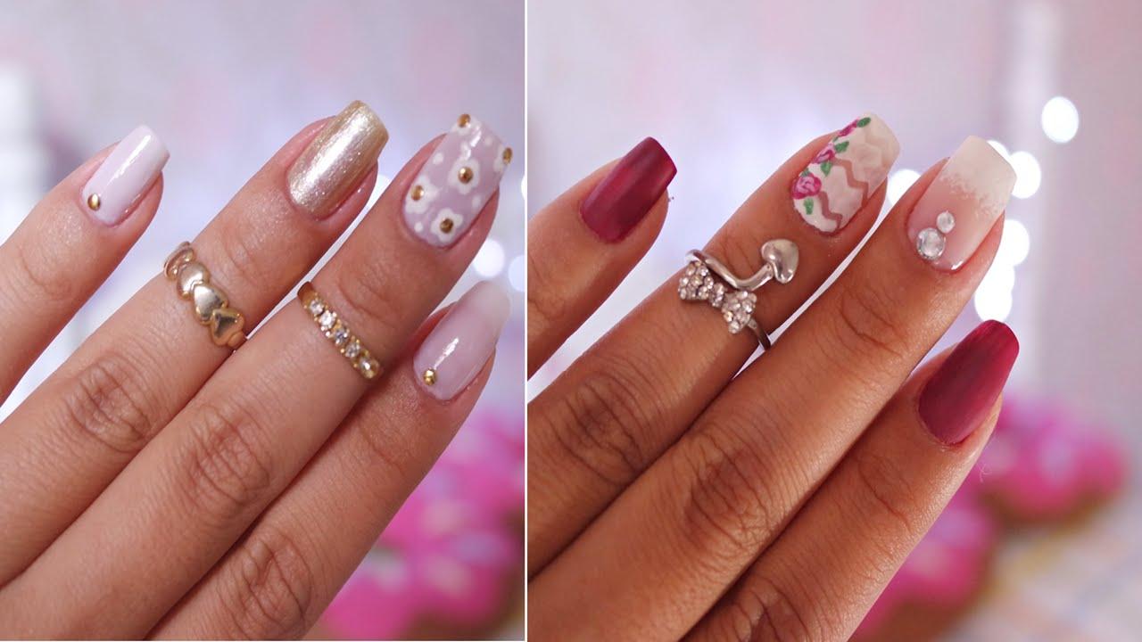 Decora o de unha f cil e delicada art decor nails youtube for Decor unhas