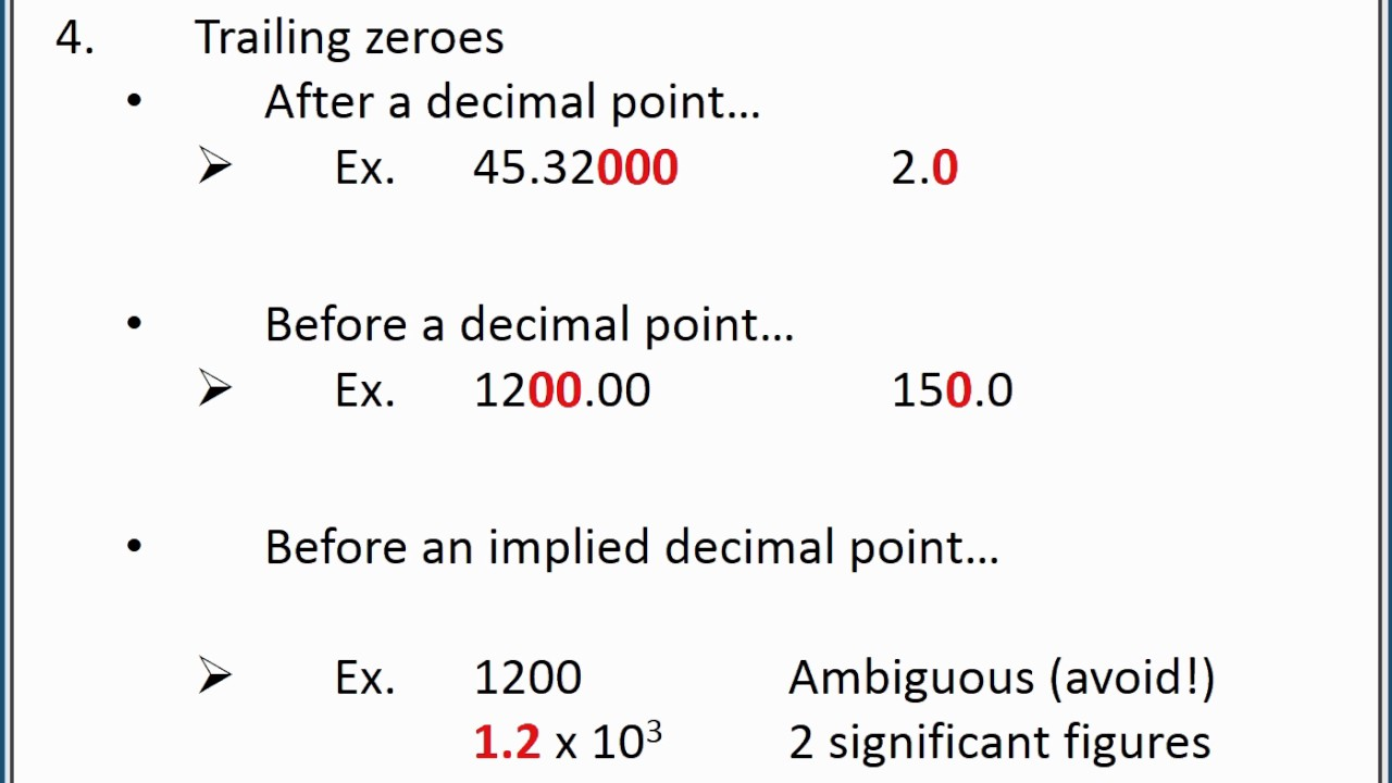CHEMISTRY 101: Significant figures and scientific notation