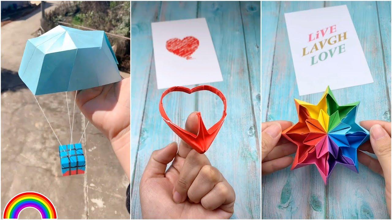 Làm đồ chơi bằng giấy độc đáo đơn giản, hay ho – Trái tim xoay cân bằng- Dù PUBG | Origami (#12)