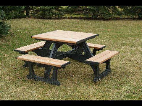 Town Square Picnic Table YouTube - Square picnic table with benches
