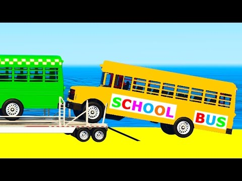 SCHOOL BUS Transportation in Cars Spiderman Cartoon for Toddlers w Colors for Kids Nursery Rhymes