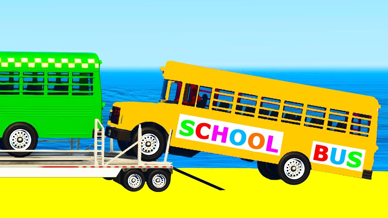 SCHOOL BUS Transportation in Cars Cartoon for Toddlers w Colors for Kids Nursery Rhymes