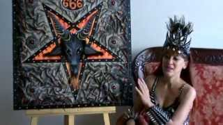 Satanic Pentagram, Baphomet. Painting on leather, in black metal style
