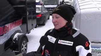 Kati Kolehmainen moottorikelkkailun SM-kisoissa Kiteellä