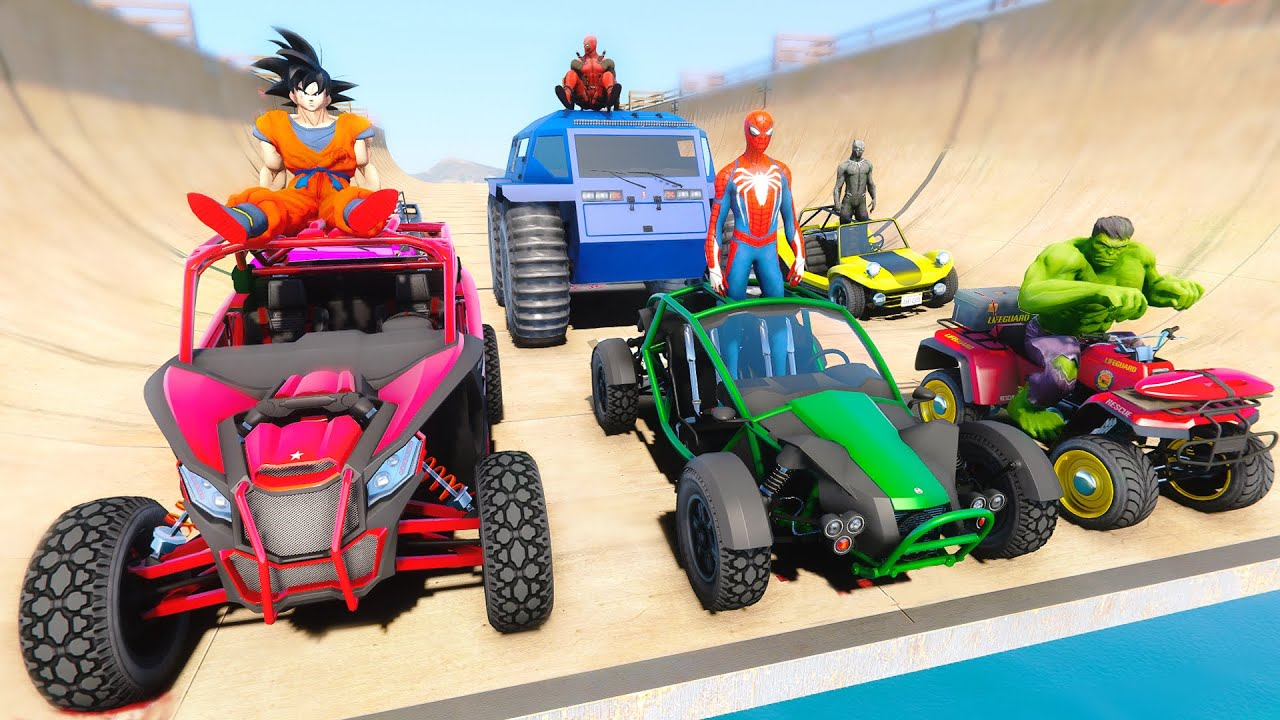 Superheroes Off-Road Cars Obstacle Challenge - GTA V MODS