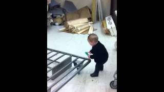 My Kid Is Strong!  Moving A Steel Bed Frame At 10 Months Ol