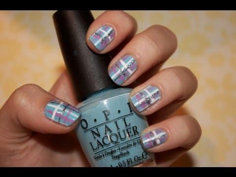 tutorial preppy plaid nails