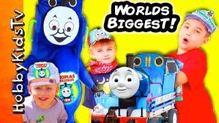 Worlds Biggest THOMAS TRAIN Adventure Egg! Train Ride Build Train Tracks+Real Trains HobbyKidsTv