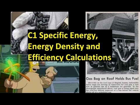 C1 Specific Energy, Energy Density and Efficiency Calculations [SL IB Chemistry]