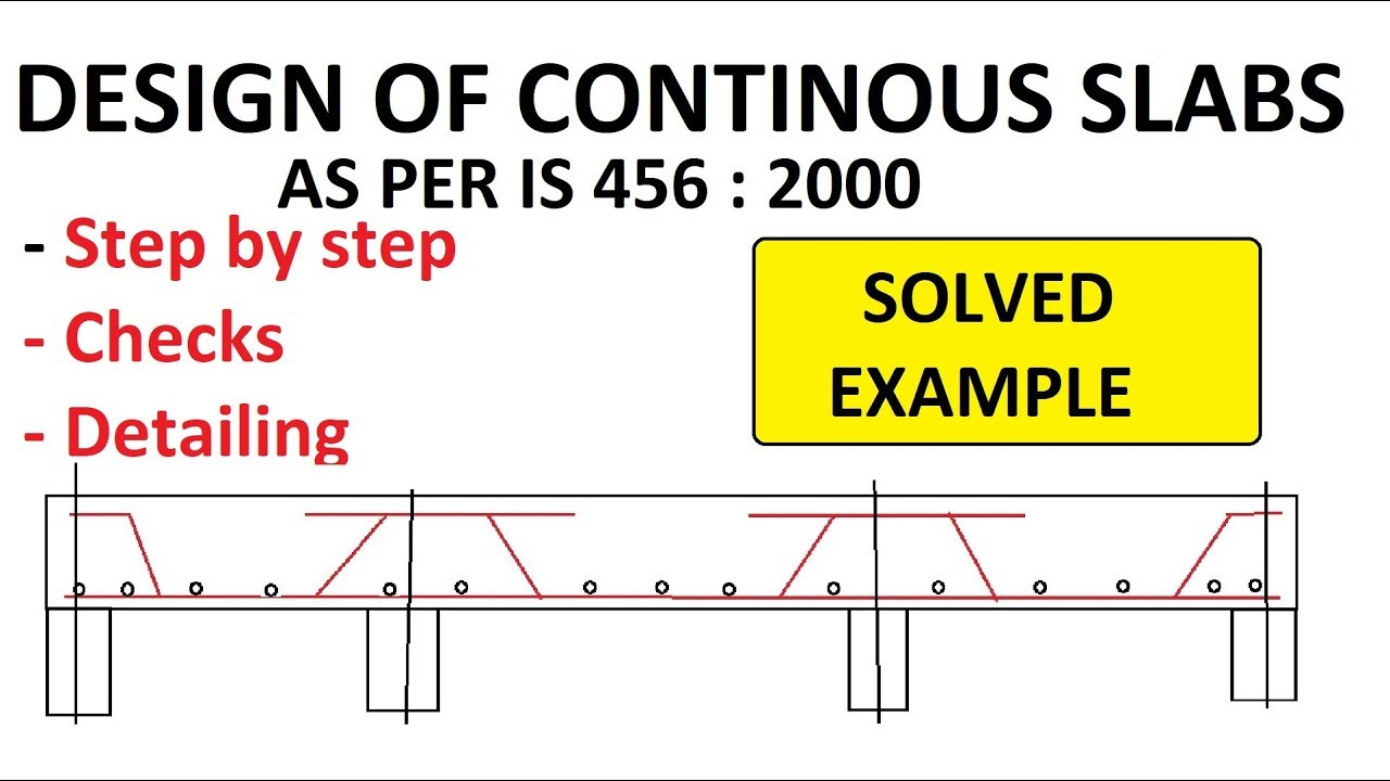 DESIGN OF CONTINUOUS ONE WAY SLABS *Checks, detailing* included | IS  456:2000 | LSM