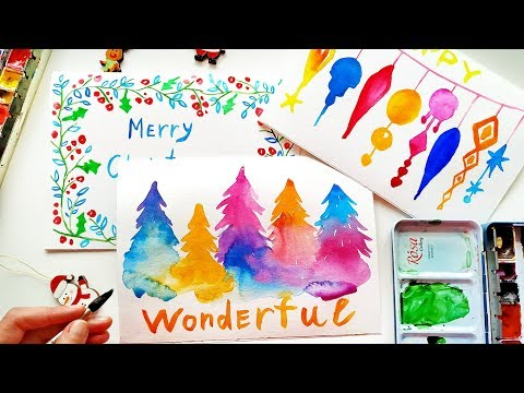 3 Cute Watercolor Christmas Cards Painting Ideas - DIY Handmade Xmas Gifts