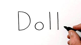 How to Draw a Doll Using the Word Doll - Very Easy!