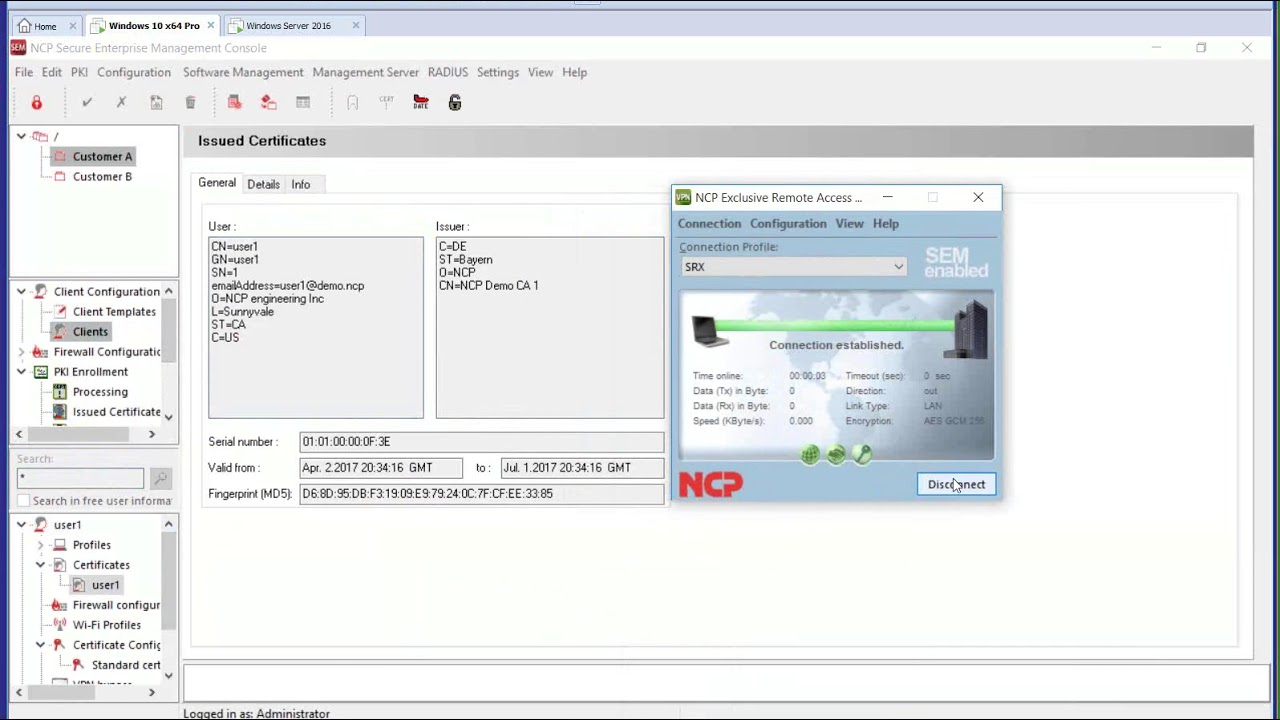 VPN Solution for Juniper SRX - NCP Exclusive Remote Access Management
