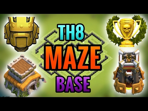 NEW TOWN HALL 8 (TH8) MAZE BASE! | W/Bomb Tower! 2017 | Clash Of Clans