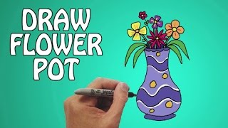 Learn How To Draw A Flower Pot in Easy Steps | Basic Drawing Lessons For Kids