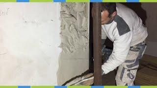 Gipsen verputzen Wanddurchbruch wände begradigen Gips Ausbrüche