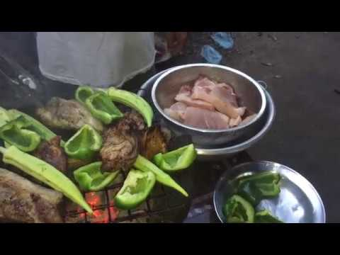 Country Food In My Village, Grilled Meat Eating With Vegetables And Grilled Fish Paste