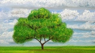 How to draw a tree at distance with pastels