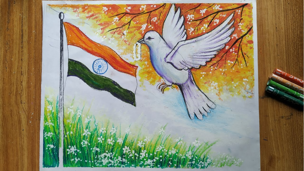 Independence Day Drawing For Beginners With Oil Pastels Color Step By Step How To Draw 15 August Youtube