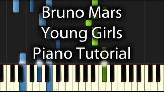 Bruno Mars - Young Girls Tutorial (How to Play on Piano) Album Version