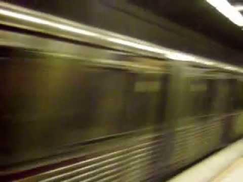 Red Line Subway train departs Pershing square station