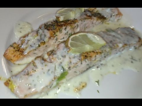 Baked Salmon/Lemon-Butter Dill Sauce