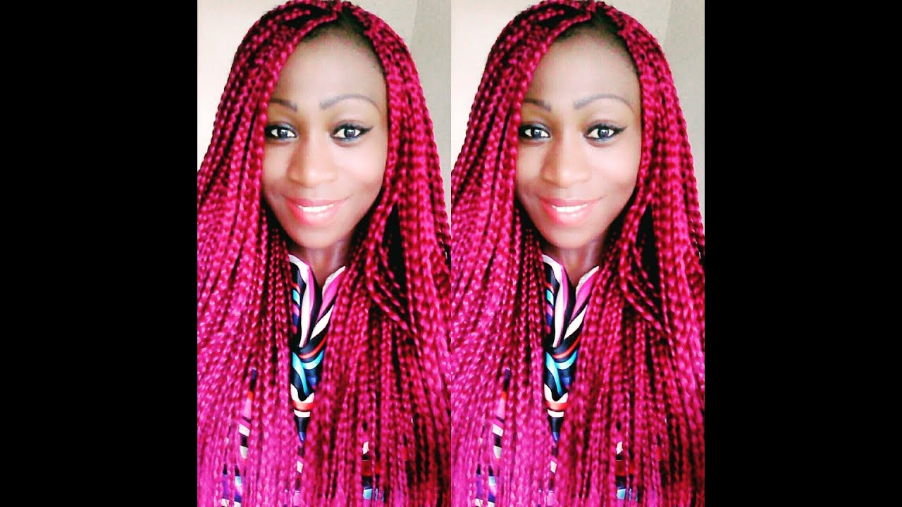 Trancas soltas vermelho cereja / Red box braids - YouTube