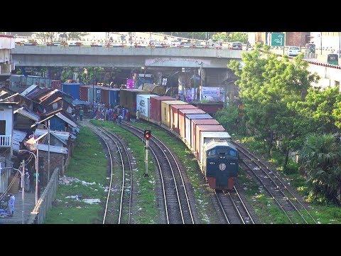 Container Transport Train of Bangladesh Railway entering ICD, Kamlapur Dhaka