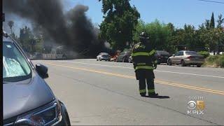 Car Crashes Into VTA Bus In San Jose; Wreck Snaps Power Pole