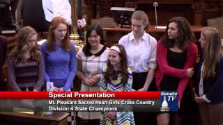 Sen. Emmons welcomes the Sacred Heart Academy Girls Cross Country Team to the Senate