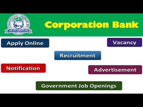 Corporation Bank Recruitment Apply Online Notifications Careers Vacancy