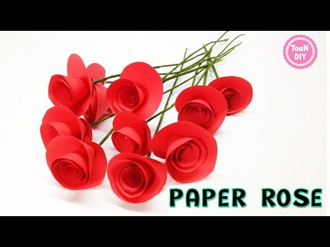 Paper Rose ดอกกุหลาบกระดาษ พับดอกกุหลาบ ของขวัญวันวาเลนไทน์ --TooNDIY